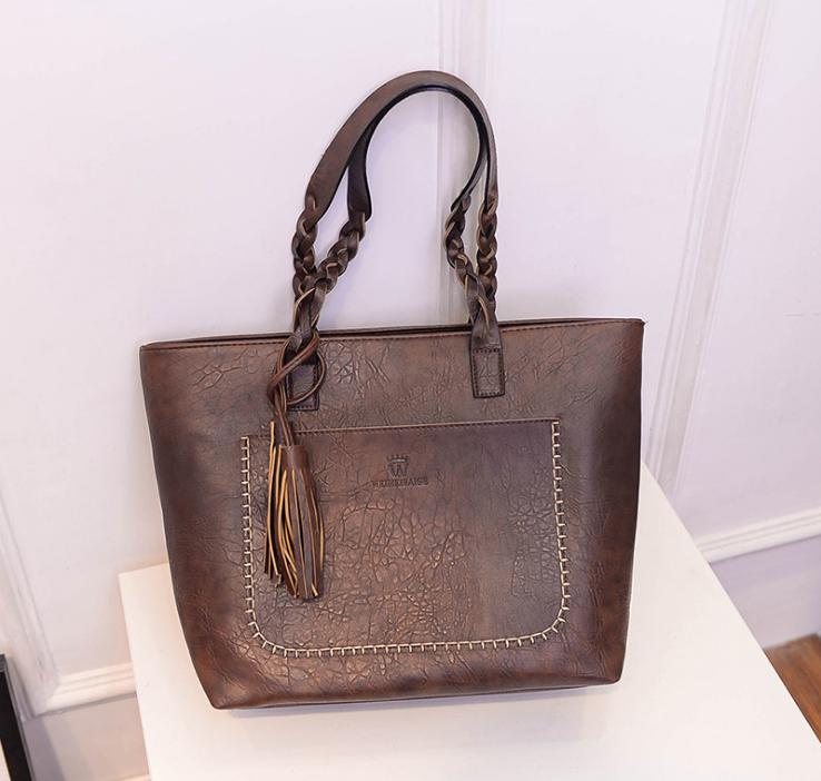 product-Osgoodway23 Fashion Women PU Leather Bag Tassel Handbags Women Big Totes Bags Luxury Designe-1