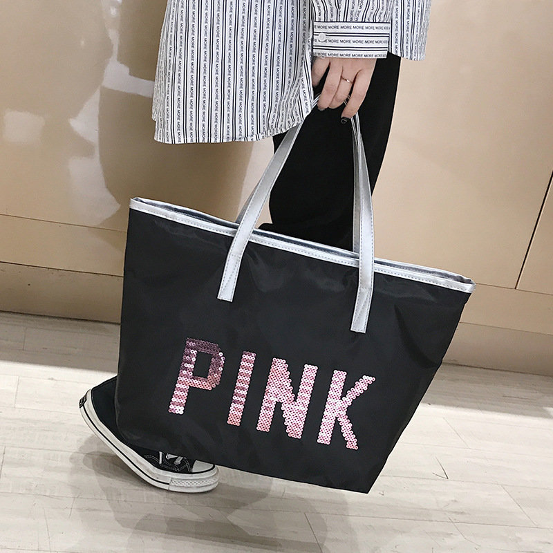 product-Osgoodway-Osgoodway2 sequined letter shoulder shopping bag custom printed women large pink t