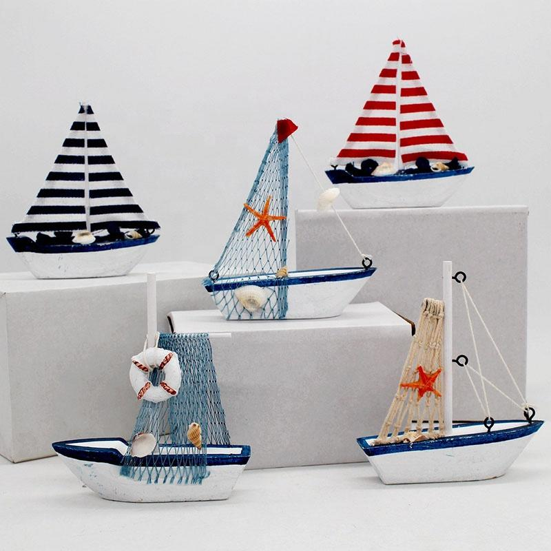 The Mediterranean Style Resin Crafts Sailboat Model Decoration Home SculptureSailing Boat Figurine