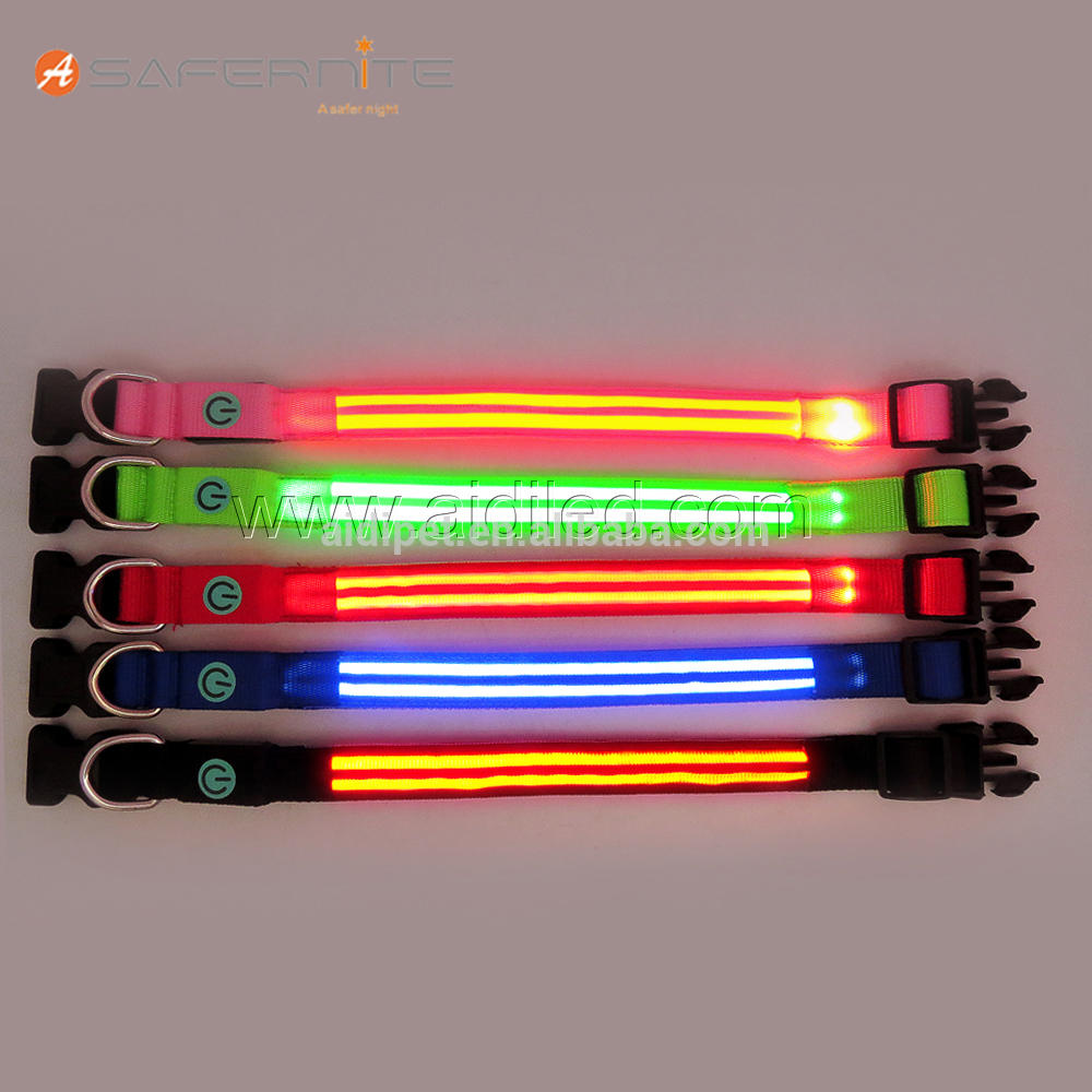AIDI Reflective Dog Collar with Double Led Optical fiber Wholesale Led Dog Collar