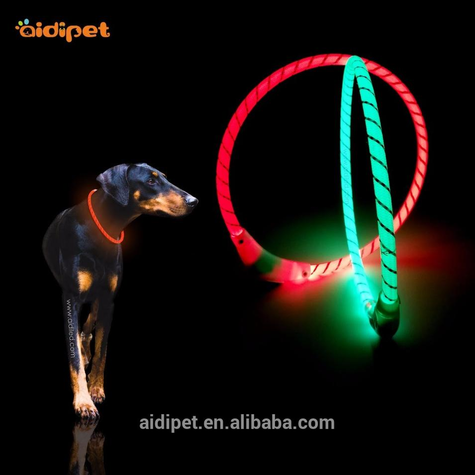 New Style Bright Light Nylon Led Dog Collar Rechargeable Waterproof