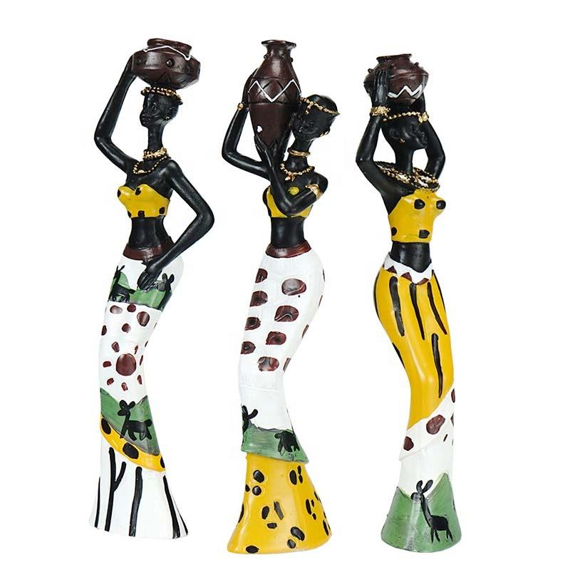 3 Pcs/Set African Characteristic People Statue Resin Traditional Feature Africa Black Figurine Exotic Home Decoration Desktop
