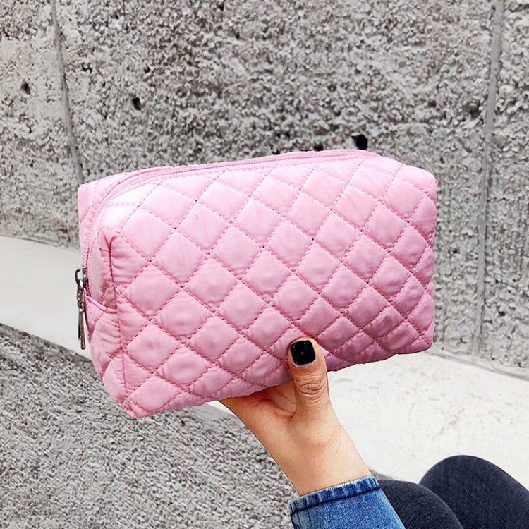 Osgoodway2 Nylon Travel Makeup Bag Waterproof Pink Portable Quilted Women Cosmetic Bag