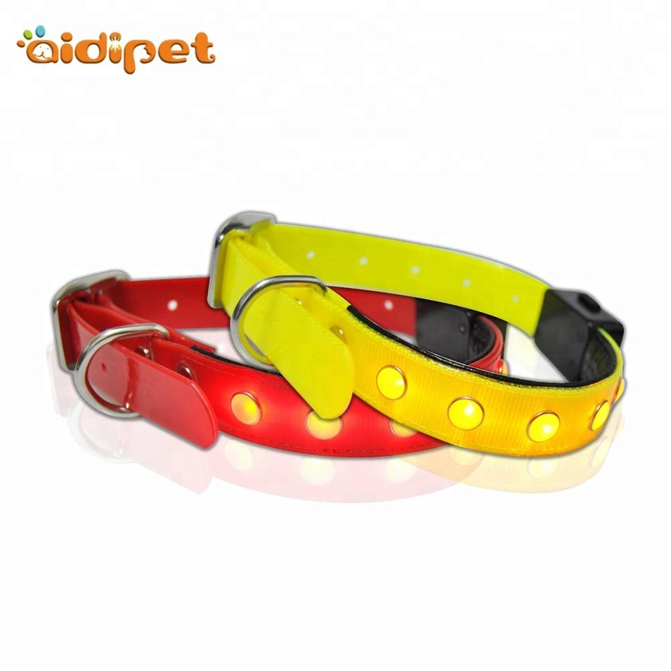 TPU Adjustable Led Dog Collar Metal Buckle, Waterproof Dog Collar