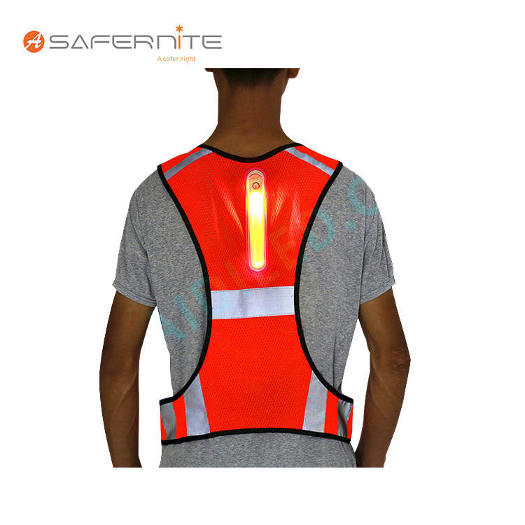 Detachable Led Safety Vest with Flashing Light High Visibility Vest for Police Workers Yellow Orange Color Safety Vest