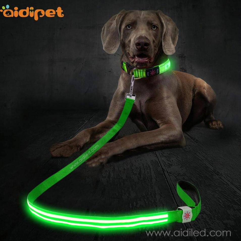 Durable waterproof pet accessory rechargeable optical fibers led dog leash