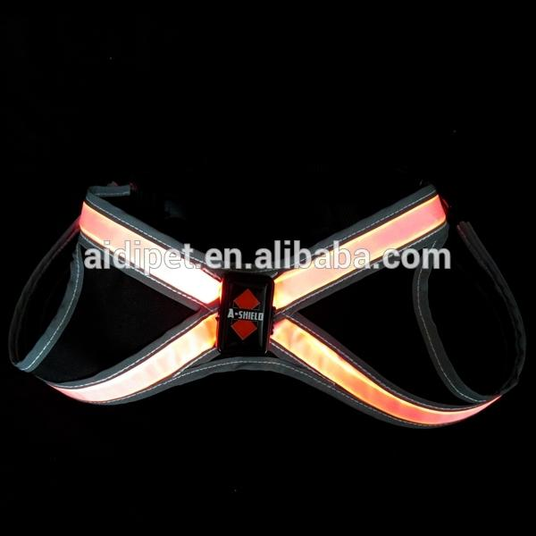 LightHound Revolutionary Illuminated and Reflective Harness for Dogs Including Multicolored LED Fiber Optics