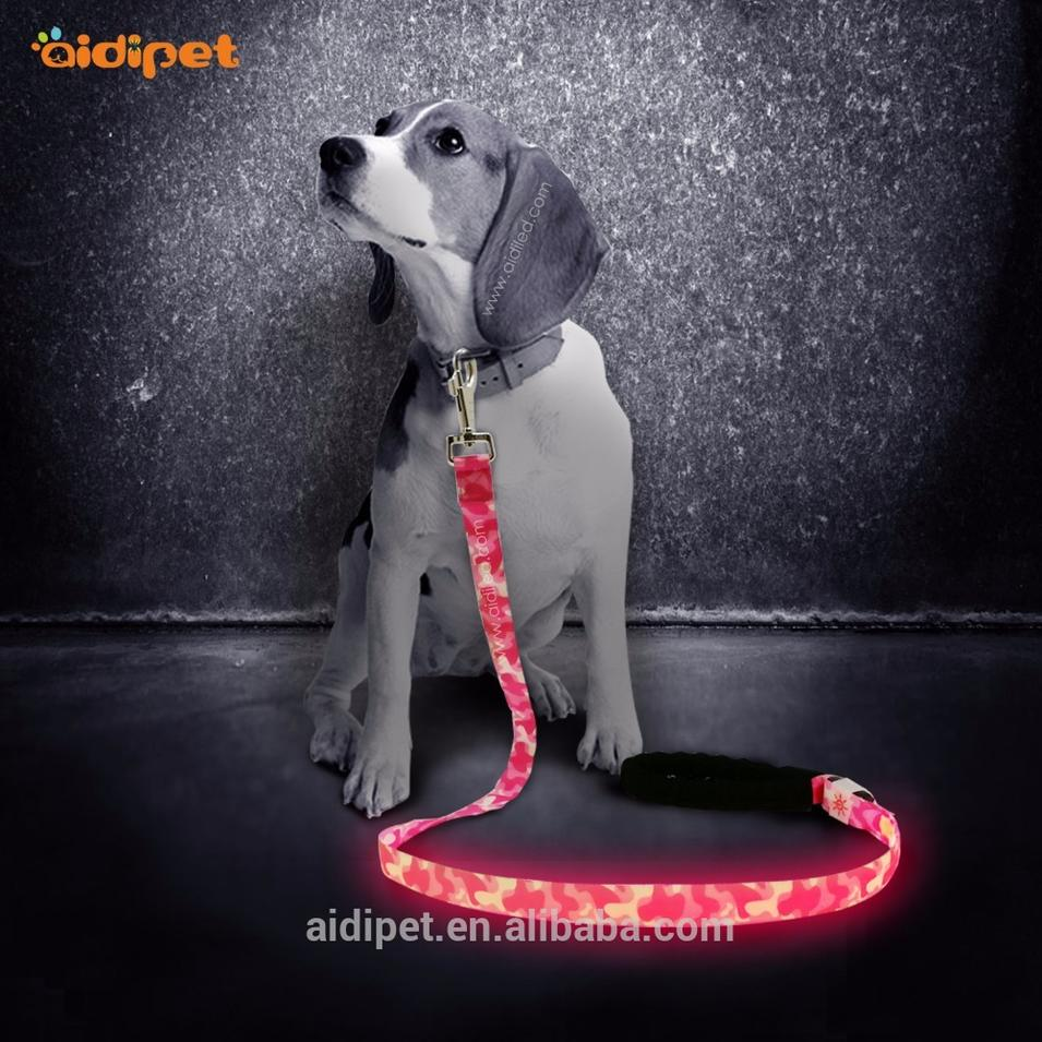 Strong & Soft Nylon Webbing Dog Leash With Led Light, Rechargeable Led Dog Leash