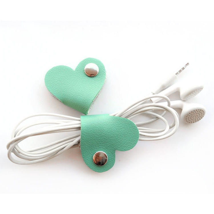 Leather Cable Winder Headphone USB Data Charging Cable Tie Cord Wrap Bobbin Winder CordOrganizer Holder Buckle