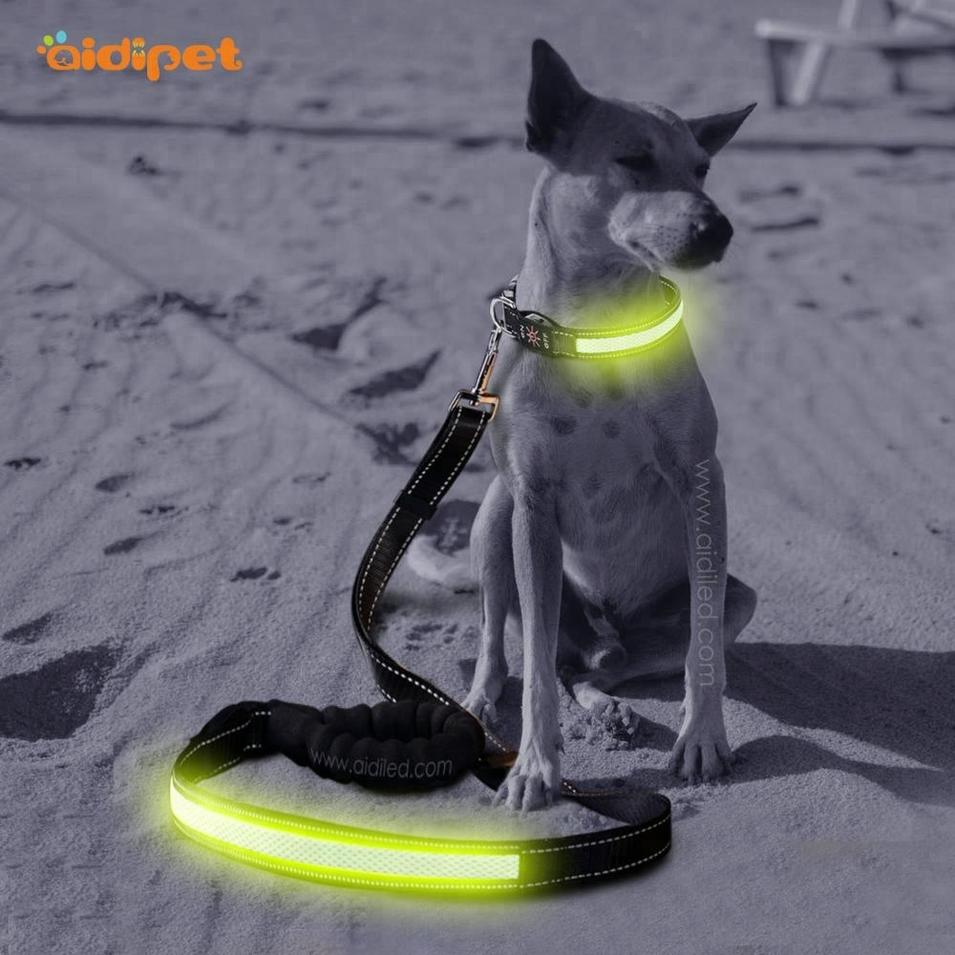 High Light Led Dog Collar And Leash, Adjustable Nylon Led Dog Leash
