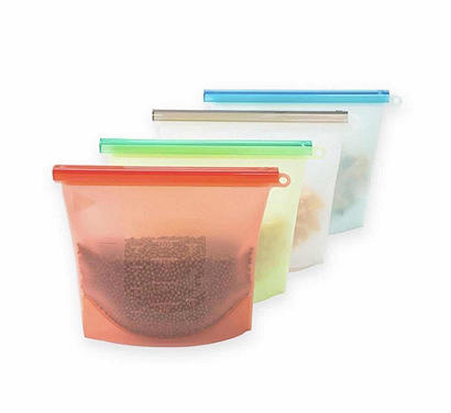 Food Grade Seal Reusable silicone food storage bag for Fruits Vegetables Meat Preservation