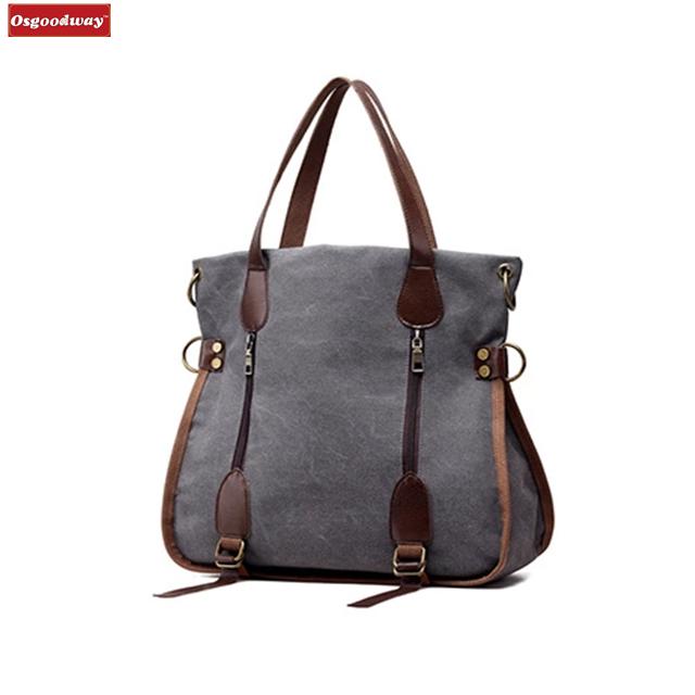 Osgoodway Fashion Big Women Canvas Bag Ladies Shoulder Bags Handbags Women Famous Brands Large Captain Casual Tote Bags