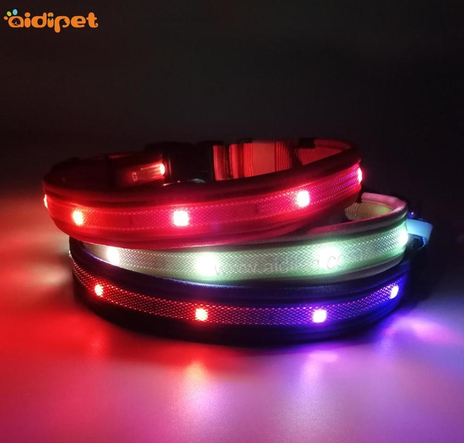 RGB Flashing Dog Collar Leash Sets Cool Light Up Collar for Dogs Amazon New Item Pet Supply Made in China Factory