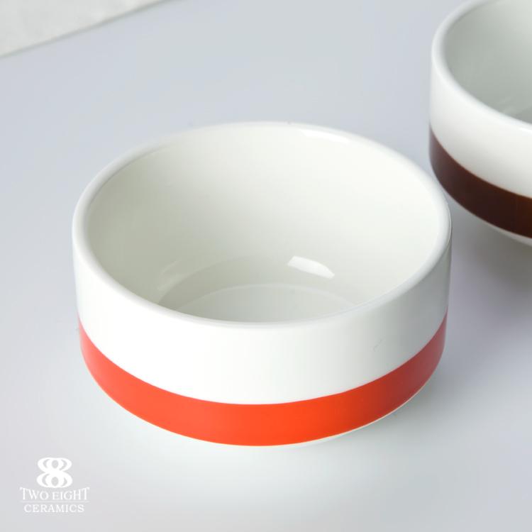 hotel & restaurant used crockery tableware Red / blue / green dinnerware Footed Bowl , Custom Printed Ceramic Bowl custom print