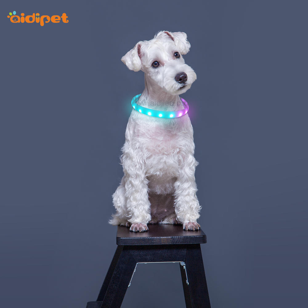 RGB Led DogCollar Large Battery Capacity Coloful Shining Collar for Dogs Free Size to Cut USB Rechargeable