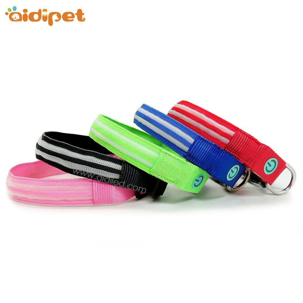 Hot New Products Night Safety Pets Accessories Nylon LED Dog Collar colorful nylon collar