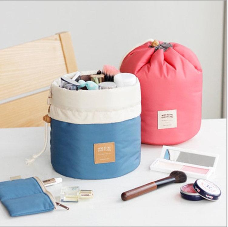 Osgoodway2 Soft Travel Make up Bag Waterproof Folded Cylinder Drawstring Cosmetic Organizer Bag