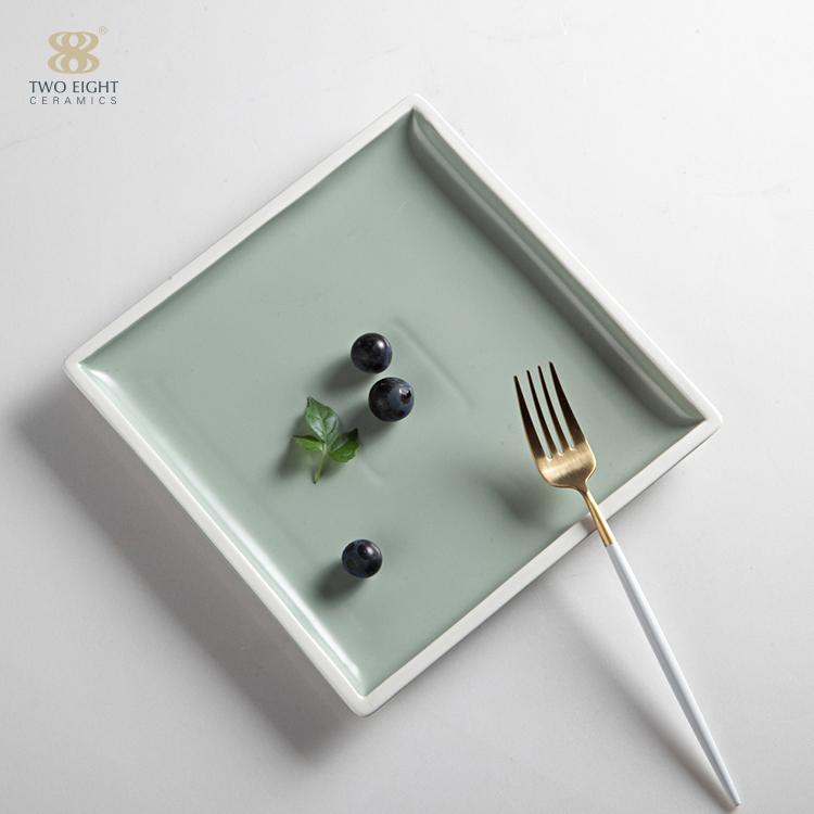 wholesale banquet hallportuguese ceramic green color porcelain used restaurant dinnerware sets