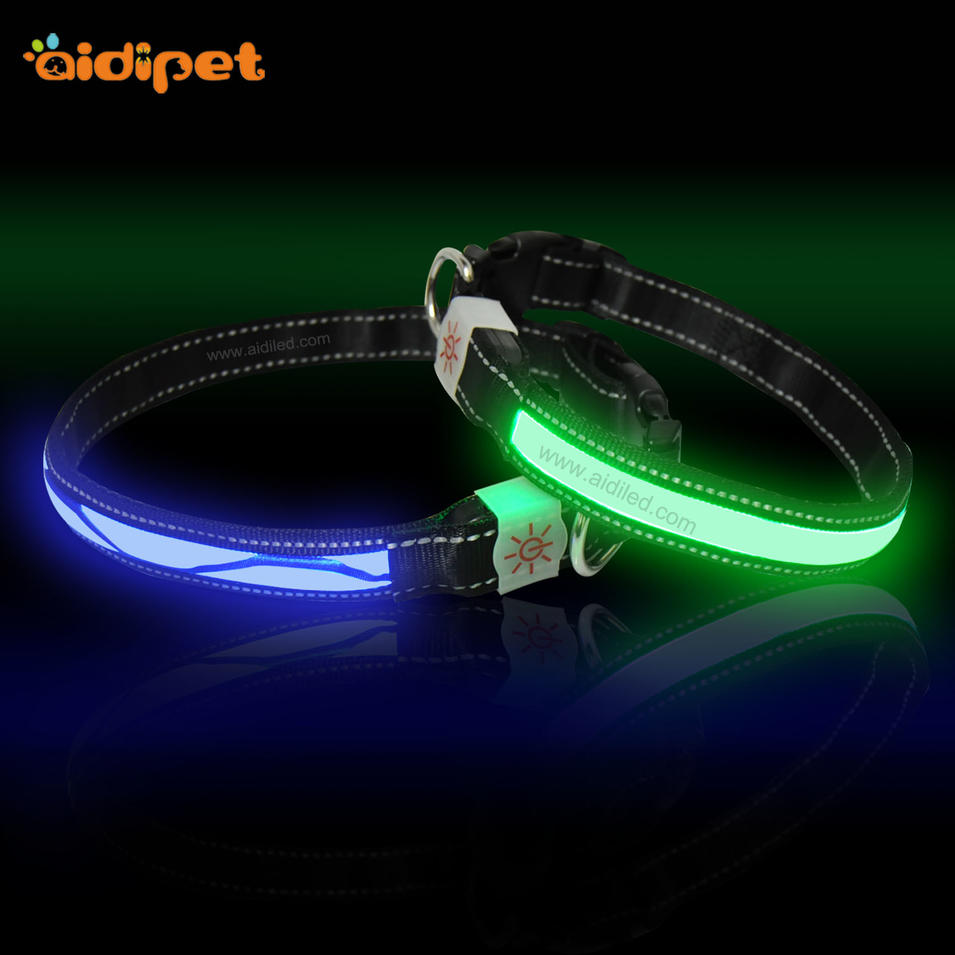 Polyester Webbing LED USB Rechargeable Dog Collars&Leashes