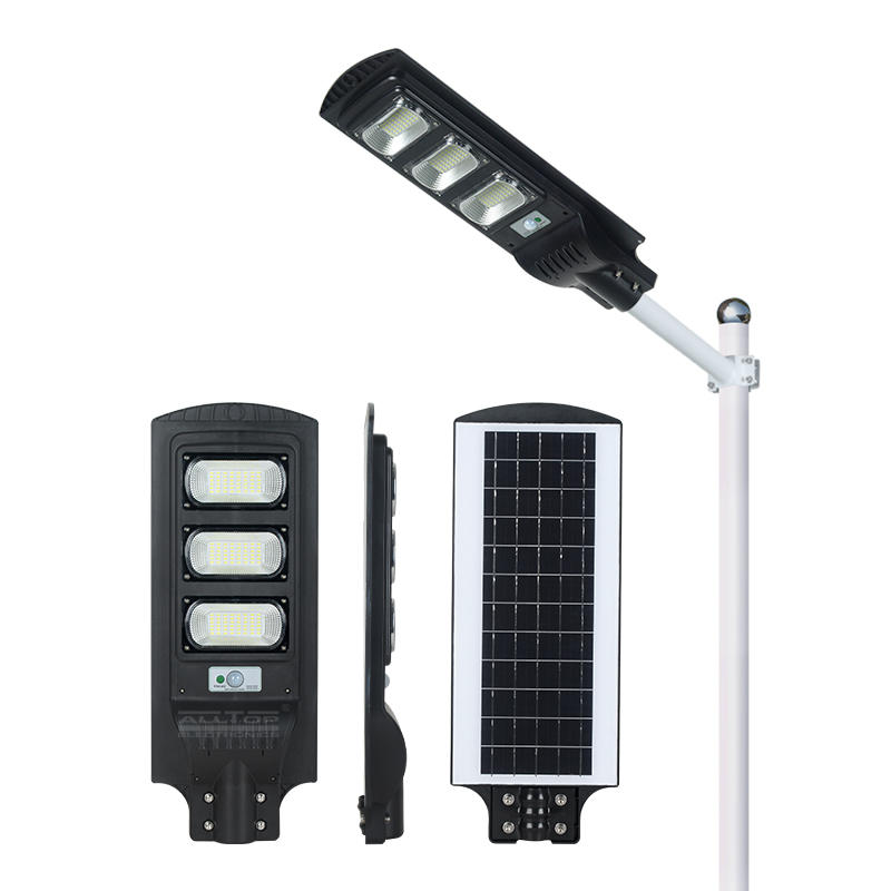 ALLTOP China outdoor lighting fixture IP65 motion sensor human induction all in one 30w 60w 90w solar led street light