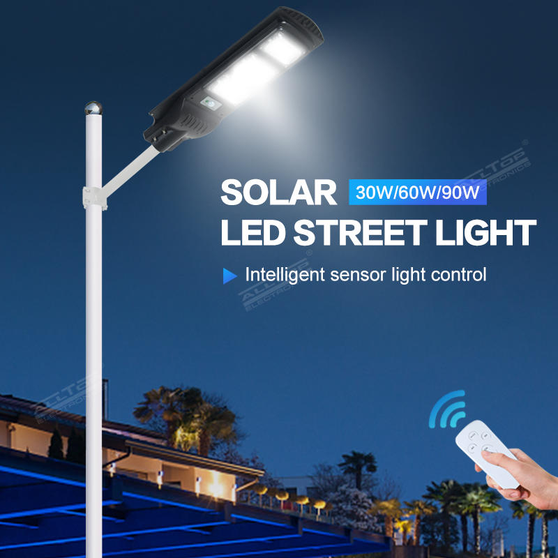 Outdoor waterproof ip65 30w 60w 90w intergrated all in one solar led street light with solar motion sensor
