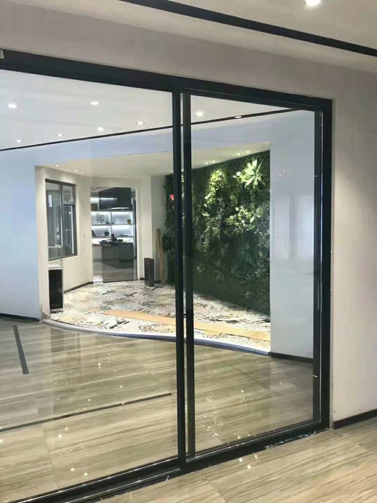 Aluminum Frame Material 3 track Double Glass Aluminum Sliding Door Factory Price