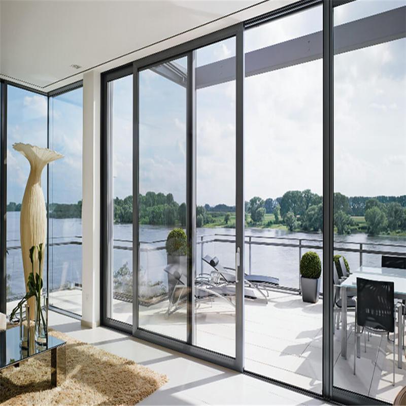 16*8 feet black aluminum single tempered clear glass sliding door for residential