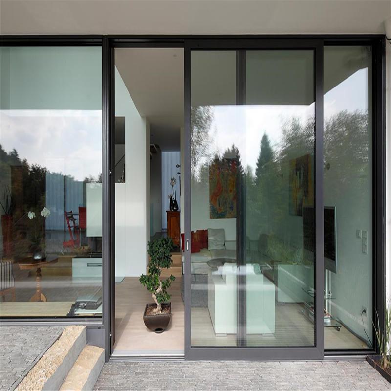 Black 3000mm*2080mm aluminum sliding door singleglazing tempered clear glass sliding door