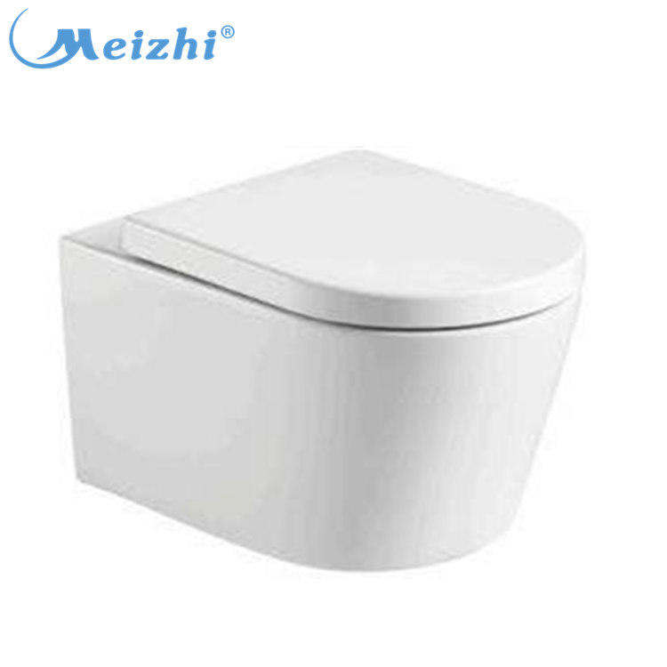 Chinese ceramic wall hung wc washdown P-trap soft closing seat cover toilet