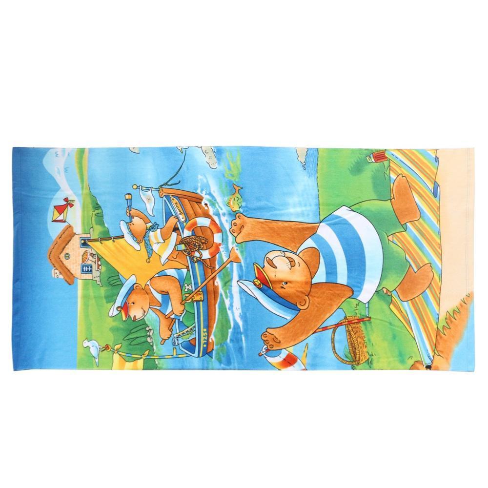Factory Price Cartoon Sublimation Printed Children Microfiber Bath Towel