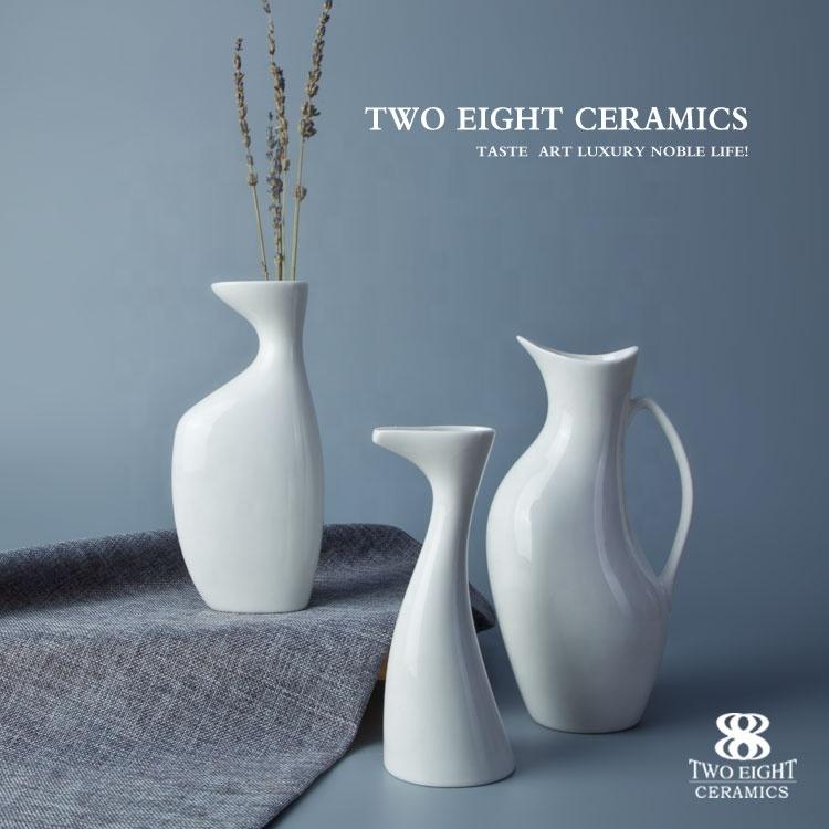 New Design Wholesale Various Elegant White Ceramic Porcelain Flower Vase, Restaurant Quality Tableware Vases^