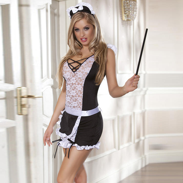 sexy lovely backless lace French maid