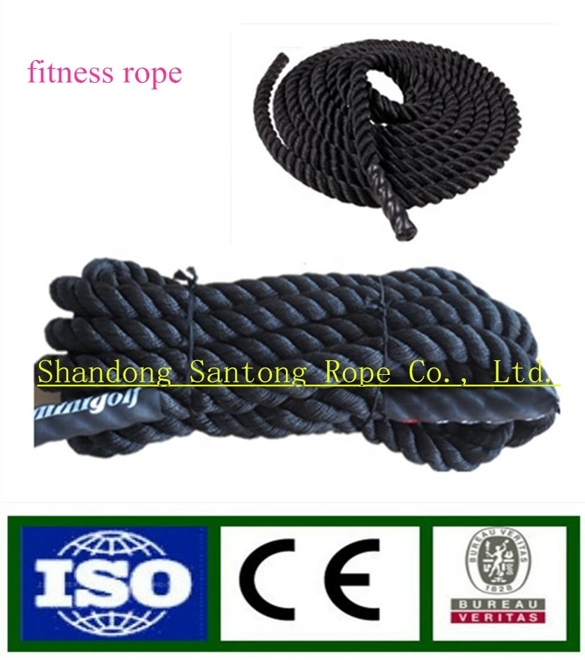 Hot sale customized package and sizenylon/ polyester/ ppbraided/ twisted gym battle ropeexercise rope for indoor/ outdoor