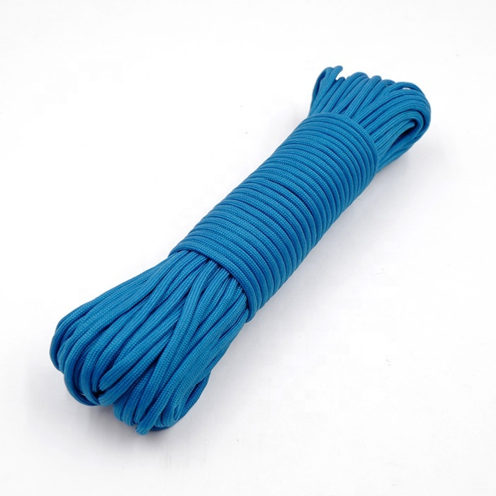High quality customized package and size 7 core parachute rope braided polyester nylon rope for camping, tent, outdoor, etc
