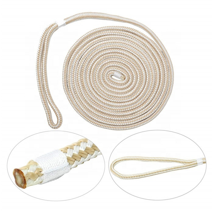 High performance customized package and size polyester/ nylon double braided dock line marine rope for sailboat, yacht, etc