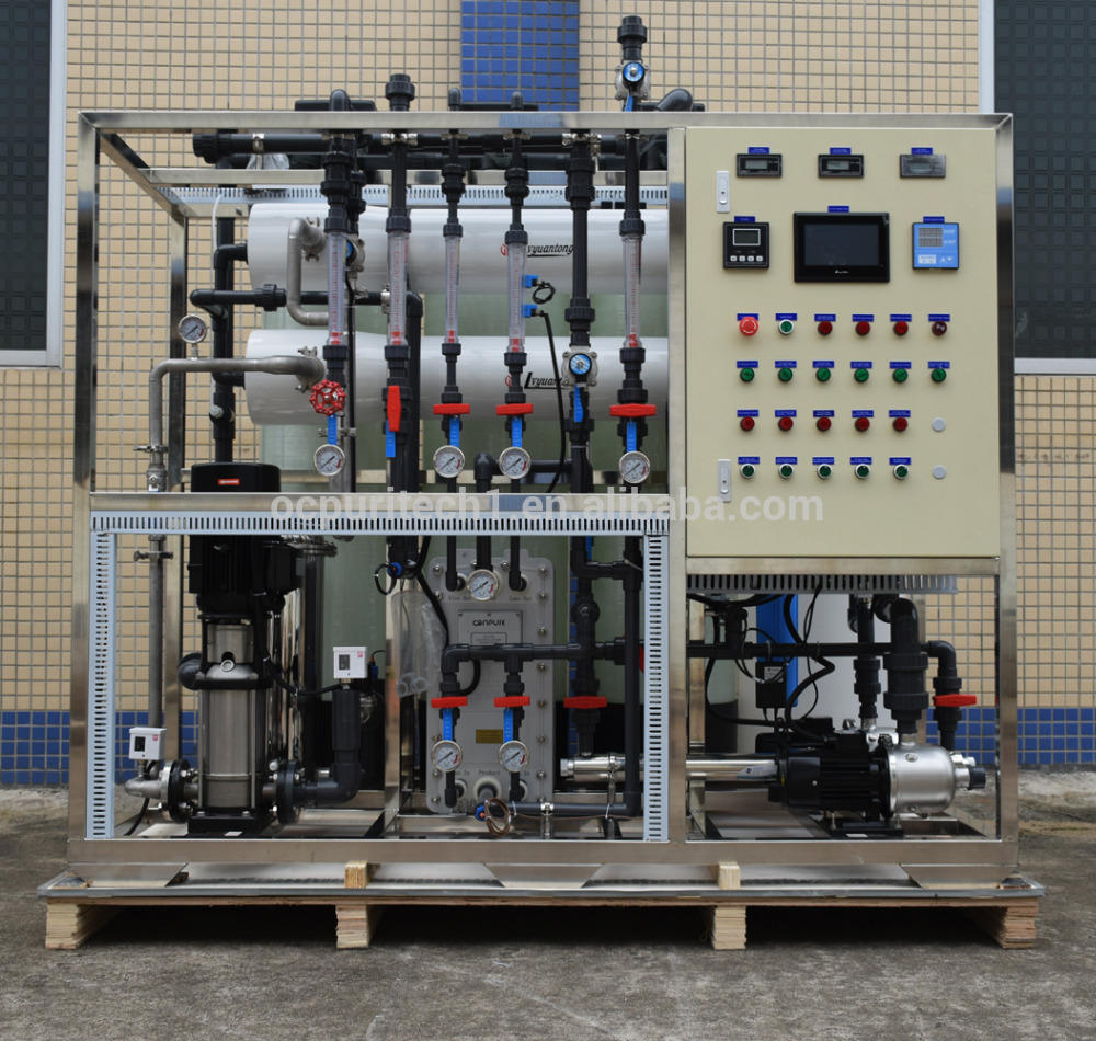 2000L/h RO EDI system with frp tank pretreatment