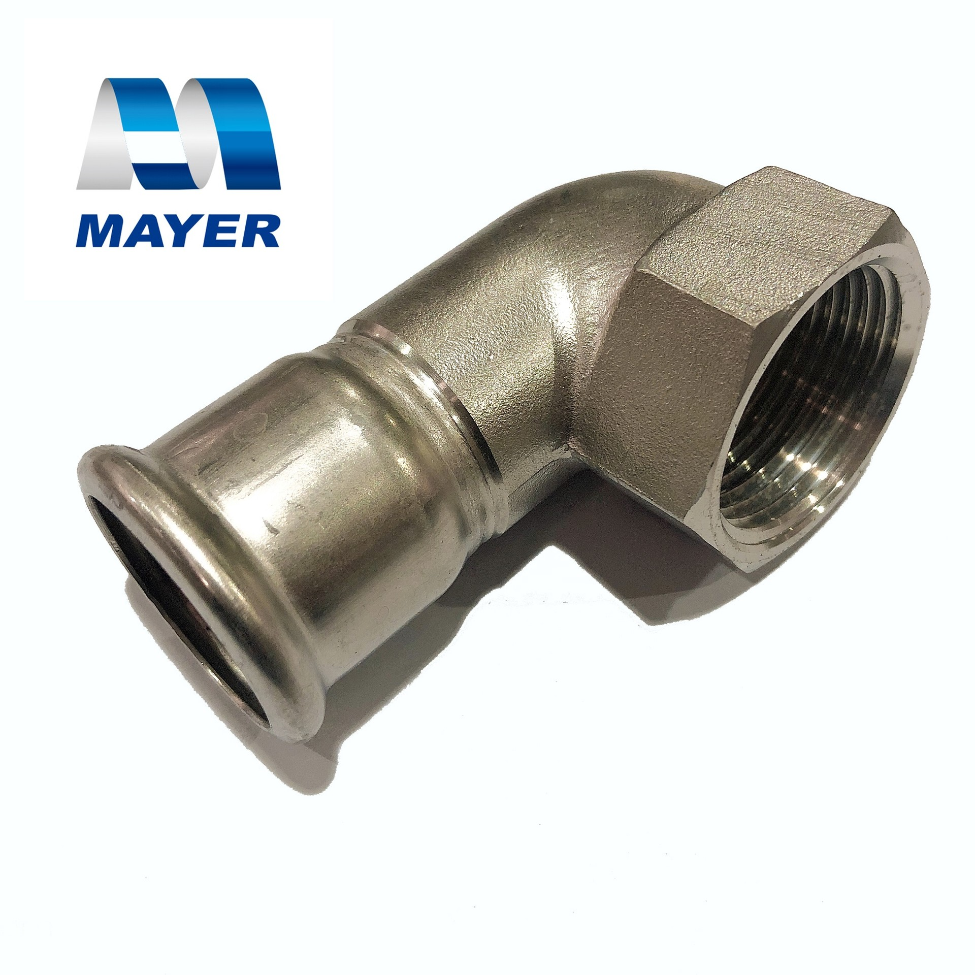 stainless steel short elbow 90 degree thread pipe fitting V profile for connection