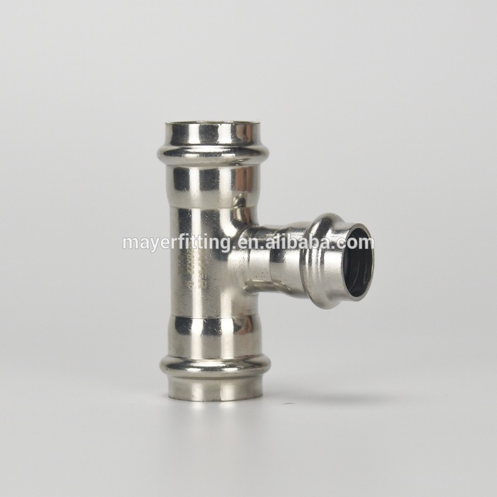 Stainless steel tee pipe fitting for hot and cold water pipe connection