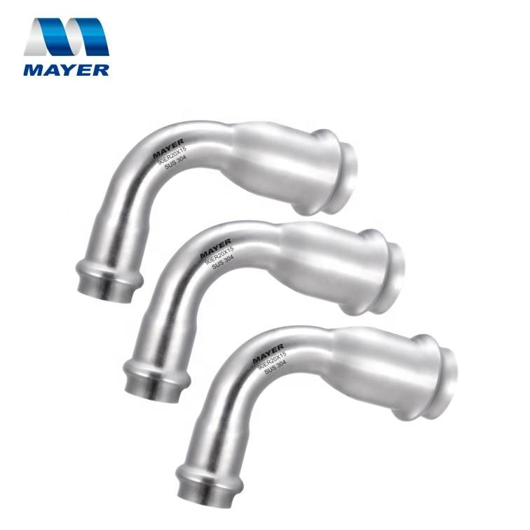 90 Elbow long radius stainless steel reducing coupling double compression press fitting pipe