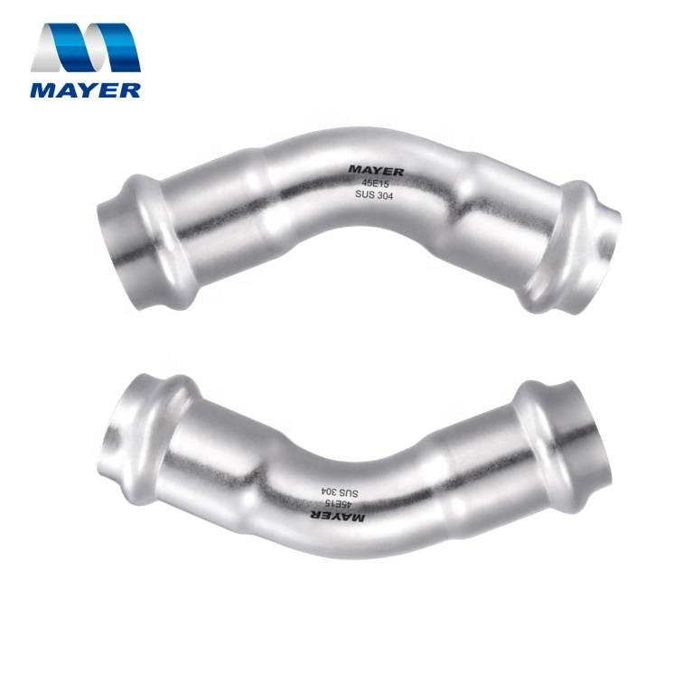 Hot/cold water stainless steel 304 pipe joint press fit fittings adapter DN15/20/25/32/40/50 elbow 45 degree