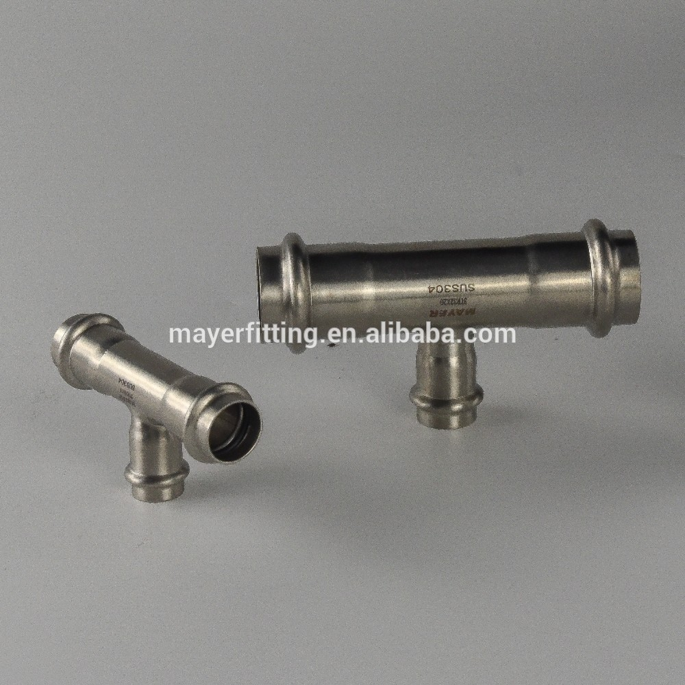 Stainless Steel Reducing pipe branch tee V press fitting for Solar System