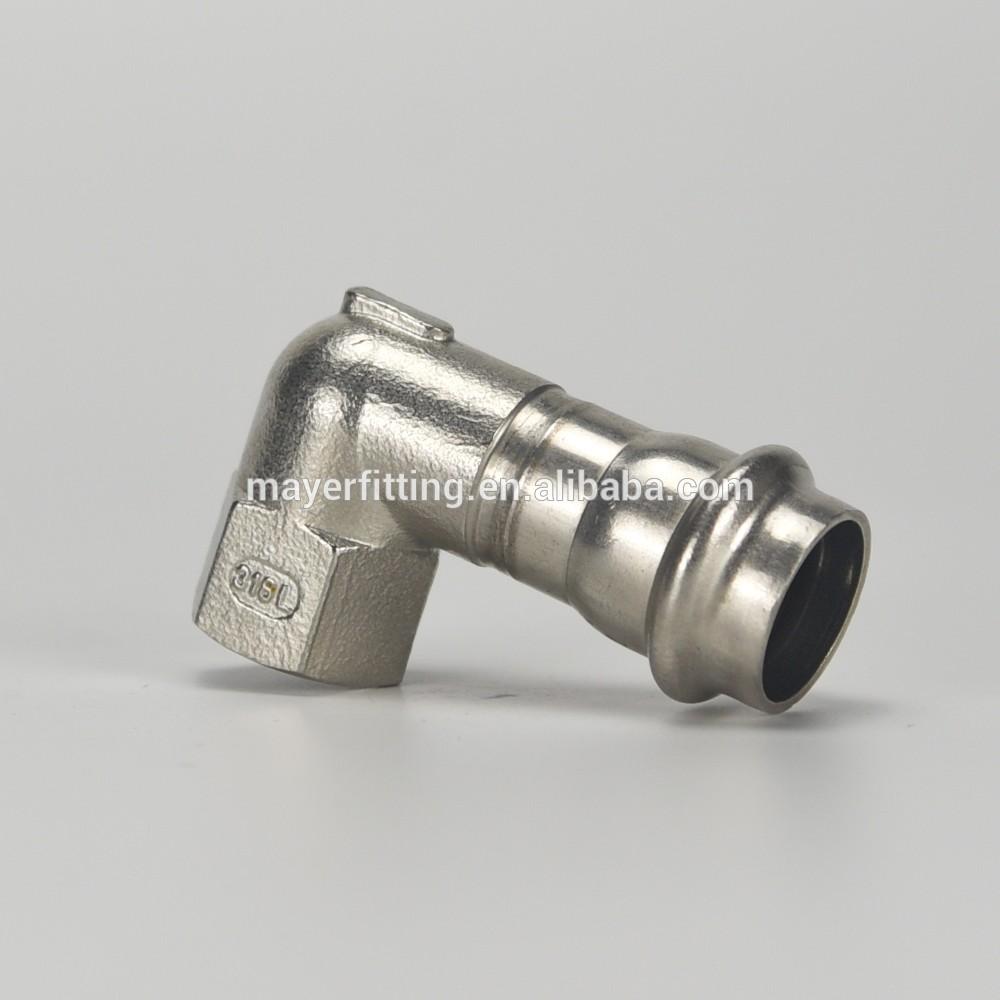 316 Stainless Steel Pipe Press Fitting Short Tangent 90 Deg Elbow 22x1/2