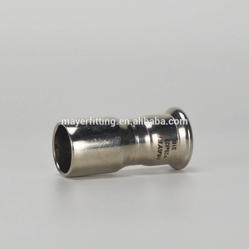 Stainless steel pipe joint plain end reducer Mapress Press fitting mit Pressindikator