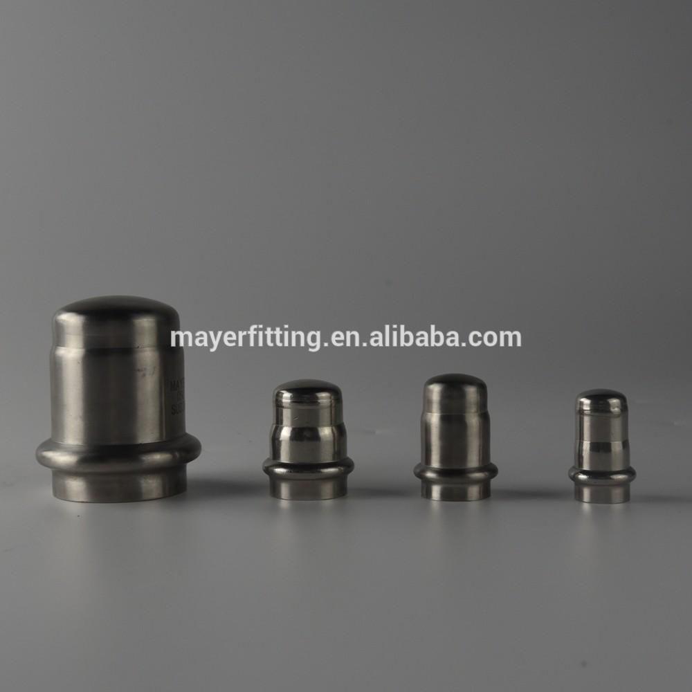 SS316L DVGW tube press fittings V Profile Tube Cap Stainless Steel