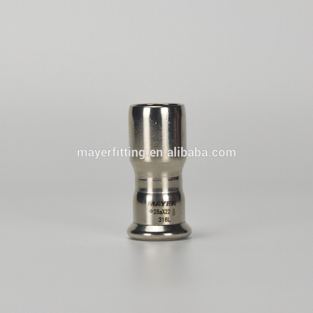 Stainless Press Fitting Plain End Reducer M Type Coupling 28x22mm