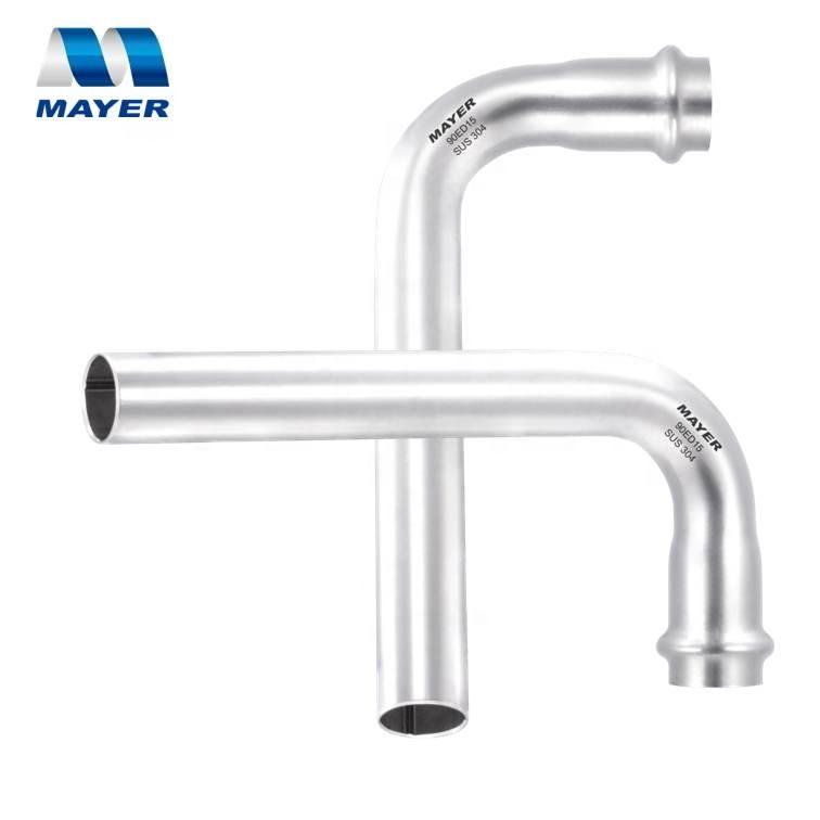 90 degree tube bending with plain end stainless steel crimp fittings