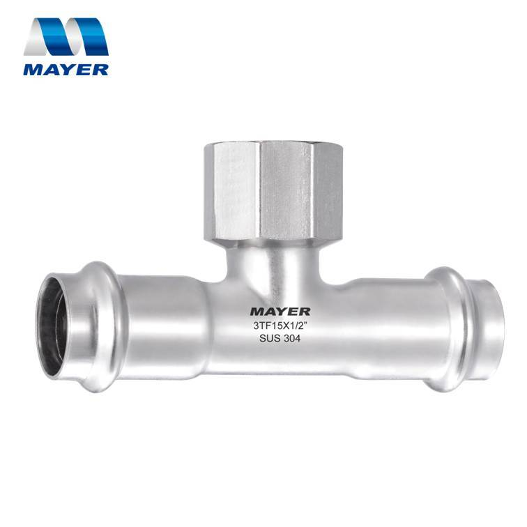 Stainless Steel Pipe Fitting Female Tee Double Press 304 or 316L