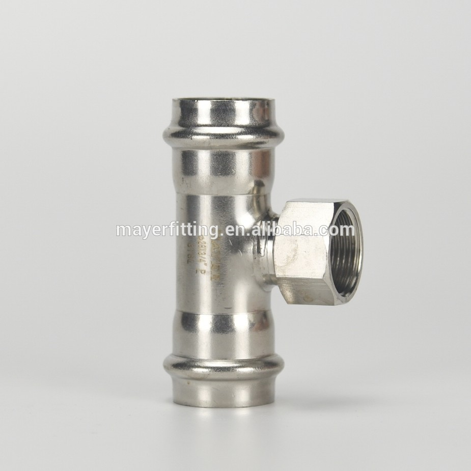 Hot sale Stainless Steel Female Tee Pipe Fitting Press Connector 316L