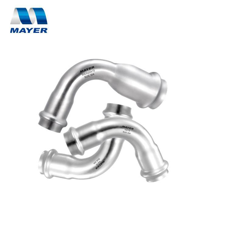 Stainless Steel Pipe Fitting Reducing Elbow 90 degree Press Bend for water and gas