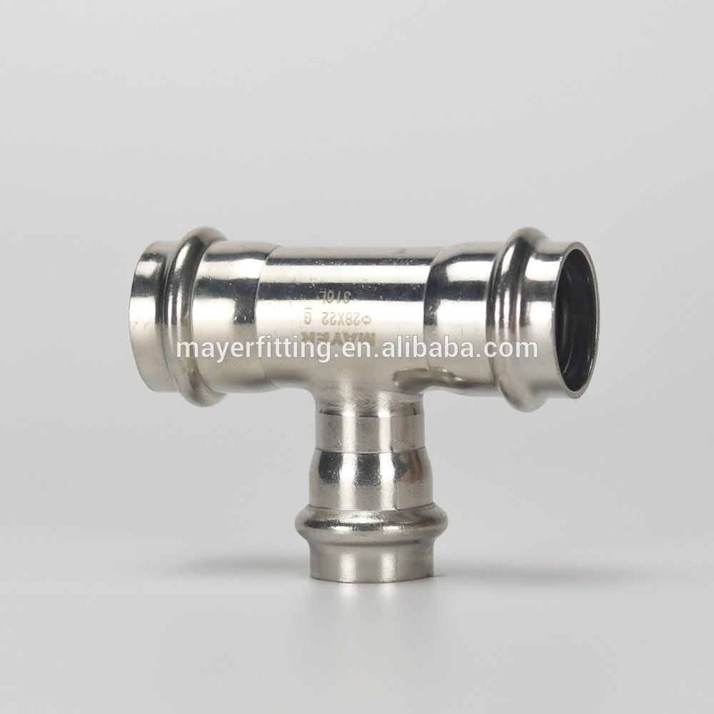Quick assembly reducing branch tee pipe fitting 28x22mm 316L